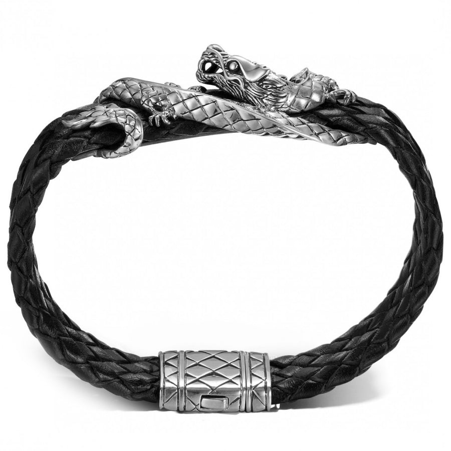 John Hardy Legends Collection Silver and Leather Naga Station Bracelet
