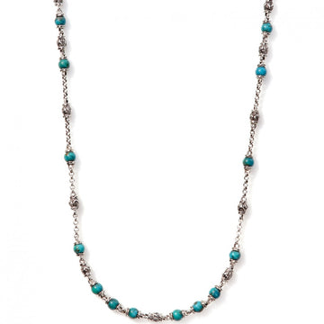 John Hardy Men's Classic Sterling Silver Chain Necklace with 4mm Turquoise and Black Matrix Beads, 28 Inches - upscaleman.myshopify.com