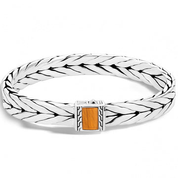John Hardy Men's Tiger's Eye Sterling Silver Chain Bracelet, 7.5 Inches Length - upscaleman.myshopify.com