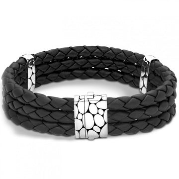 John Hardy Kali Triple Row Black Leather and Sterling Silver Bracelet, 8 Inches - upscaleman.myshopify.com