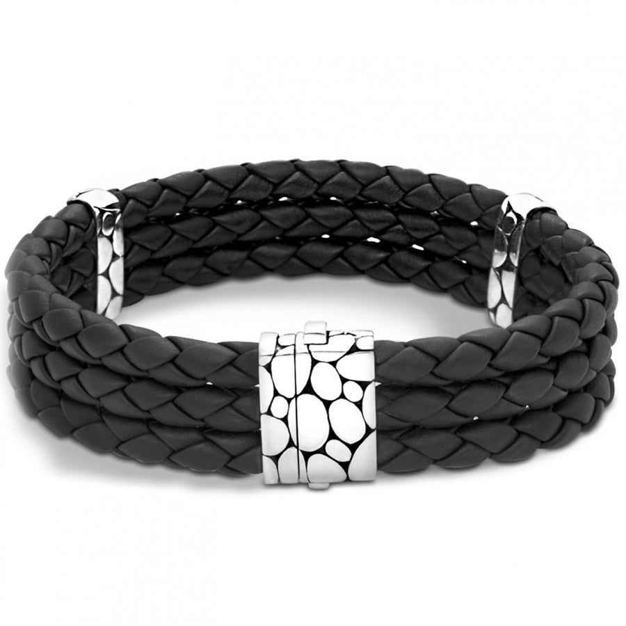 John Hardy Kali Triple Row Black Leather and Sterling Silver Bracelet, 8 Inches