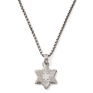 John Hardy Classic Hammered Sterling Silver Star of David Pendant, 22 inches Length - upscaleman.myshopify.com