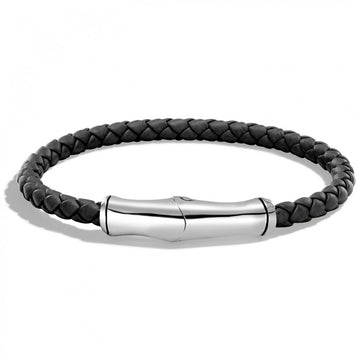 John Hardy Bamboo Collection Station Bracelet Sterling Silver and Black Leather - upscaleman.myshopify.com