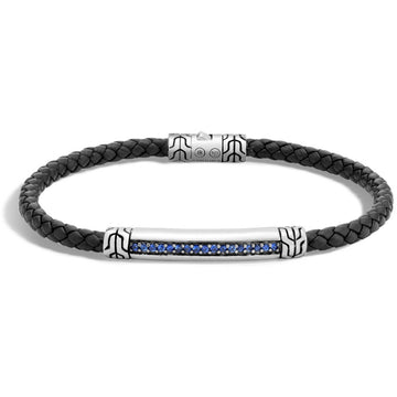 John Hardy Classic Chain Collection Black Leather and Blue Stone Bracelet, Sapphire Pave and  Sterling Silver, 7 3/4 Inches Length - upscaleman.myshopify.com
