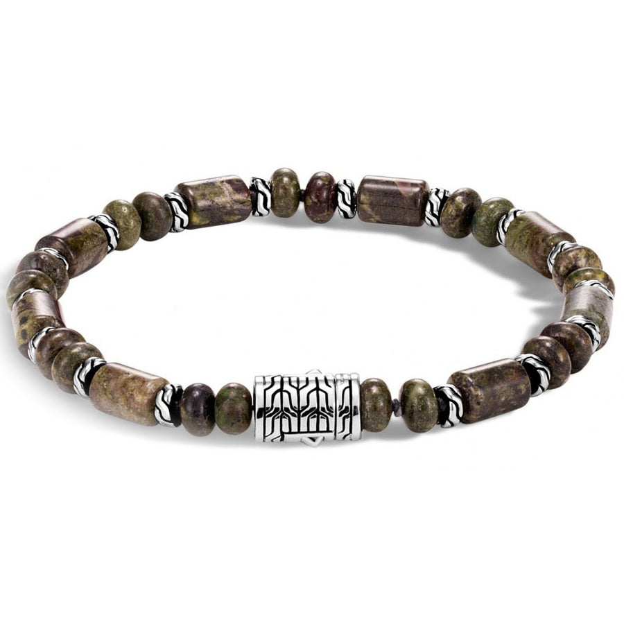 John Hardy Classic Chain Sterling Silver Beads with Dragon Blood Jasper Beads Bracelet