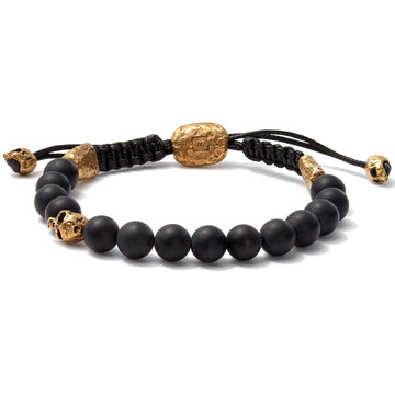 John Varvatos 8mm Brass Skull Bracelet with Color Beads