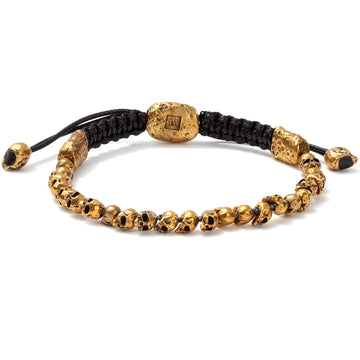 John Varvatos Beaded Brass Skull Bracelet