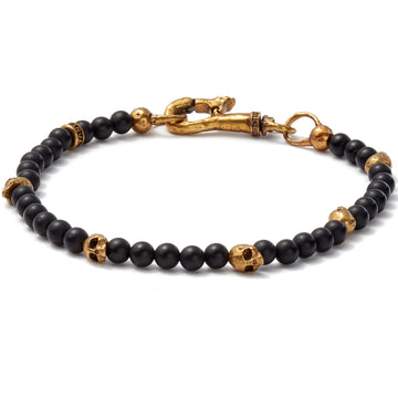 John Varvatos Brass Skull Beads and 4mm Color Beads Bracelet, Black