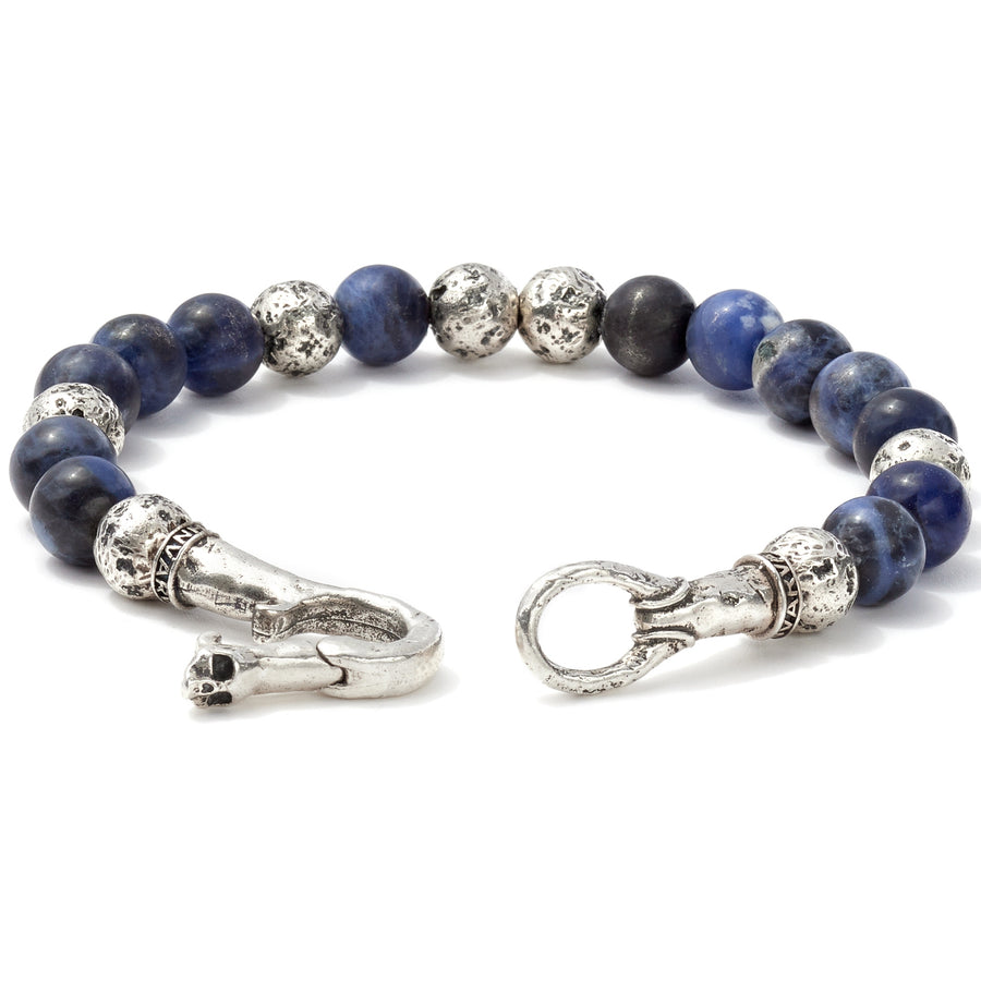 John Varvatos Artisanal Silver and Sodalite Beaded Bracelet