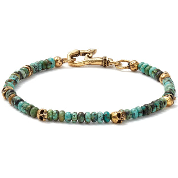 John Varvatos Brass Skull Beads and 4mm Color Beads Bracelet, Blue/Green