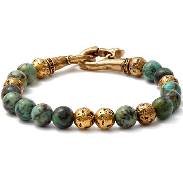 John Varvatos 8mm Brass Distressed Balls with 8mm Color Beads Bracelet, Blue/Green