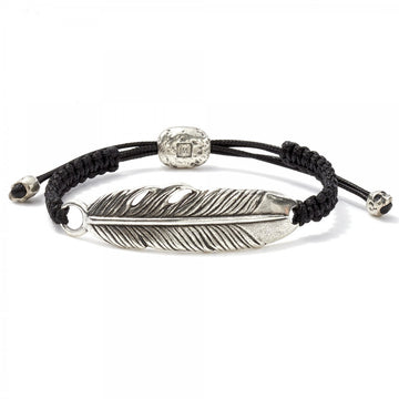 John Varvatos Silver Feather Adjustable Bracelet - upscaleman.myshopify.com