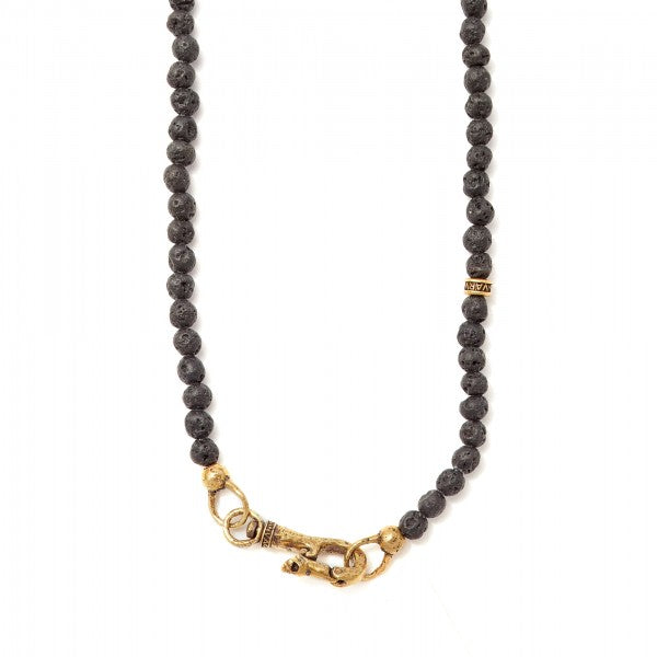 John Varvatos Beaded Lava and Brass Necklace