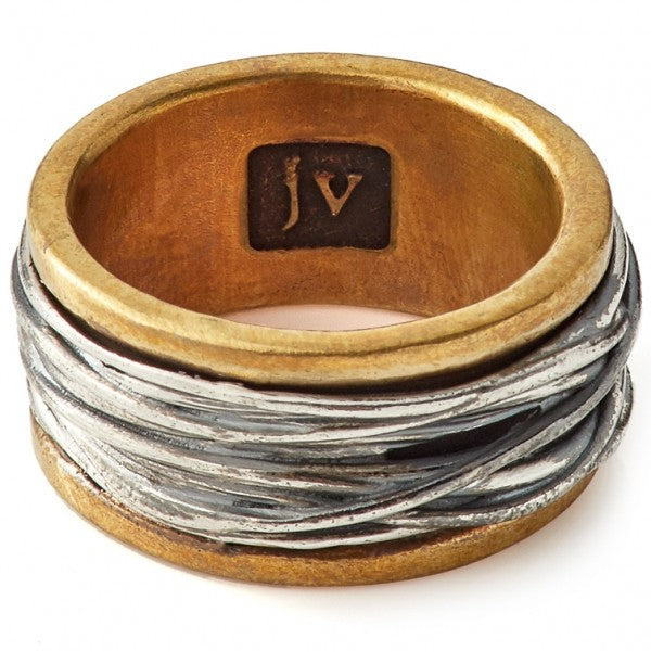 John Varvatos Artisanal Brass and Silver Ring
