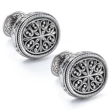 Konstantino Men's Sterling Silver Filigree Oval Designer Cufflinks