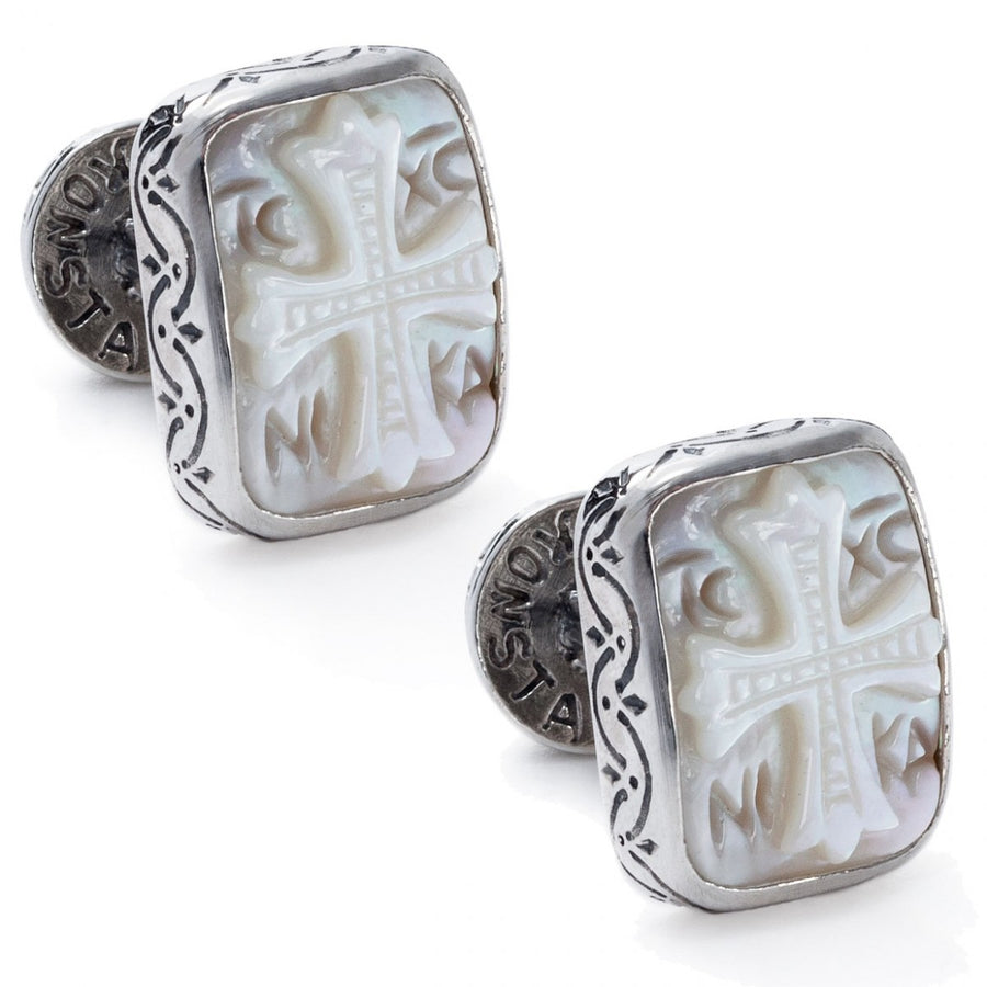 Konstantino Men's Sterling Silver and Mother of Pearl Intaglio Designer Cufflinks