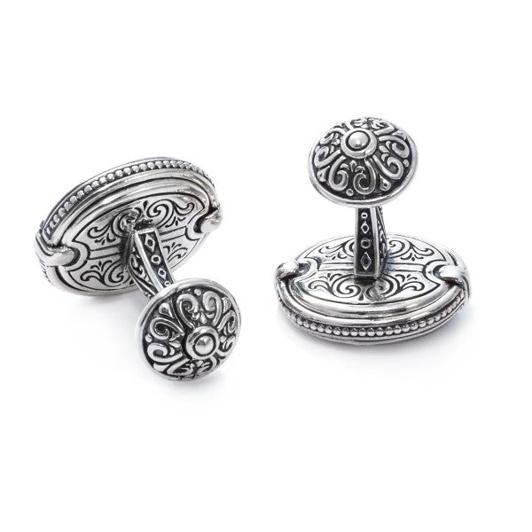 Konstantino Men's Sterling Silver and Black Spinel Designer Cufflinks