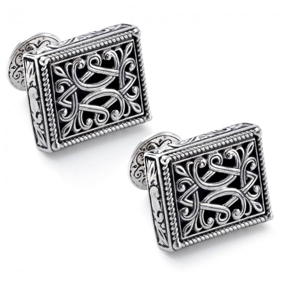 Konstantino Men's Sterling Silver Rectangle Filligree Designer Cufflinks