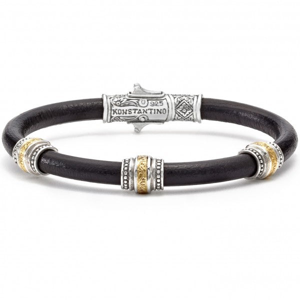 Konstantino Men's Leather Bracelet with Sterling Silver and Bronze