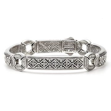 Konstantino Men's Large Sterling Silver Etched Bracelet, 9 Inches Length