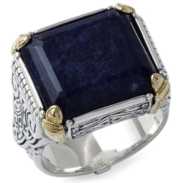 Konstantino Men's Sterling Silver and 18k Gold with Blue Sodolite Ring, Size 10