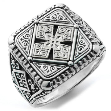 Konstantino Men's 925 Sterling Silver Square Maltese Ring