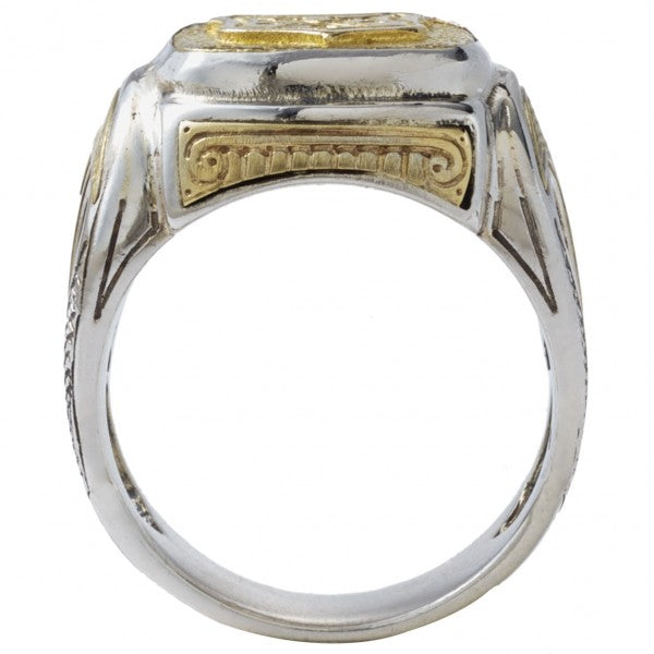 Konstantino Men's Sterling Silver and Bronze Shield Ring