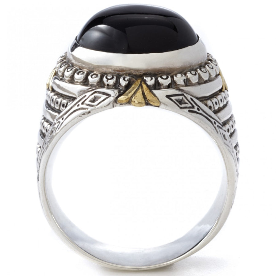 Konstantino Men's Sterling Silver and Black Onyx Ring, Size 10