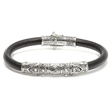Konstantino Men's Hephaestus Collection Sterling Silver and Leather Bracelet