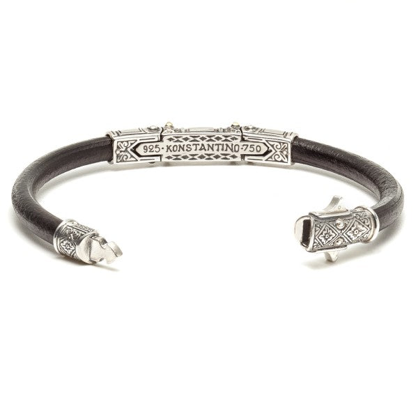 Konstantino Men's Hephaestus Collection Sterling Silver and Gold Leather Bracelet