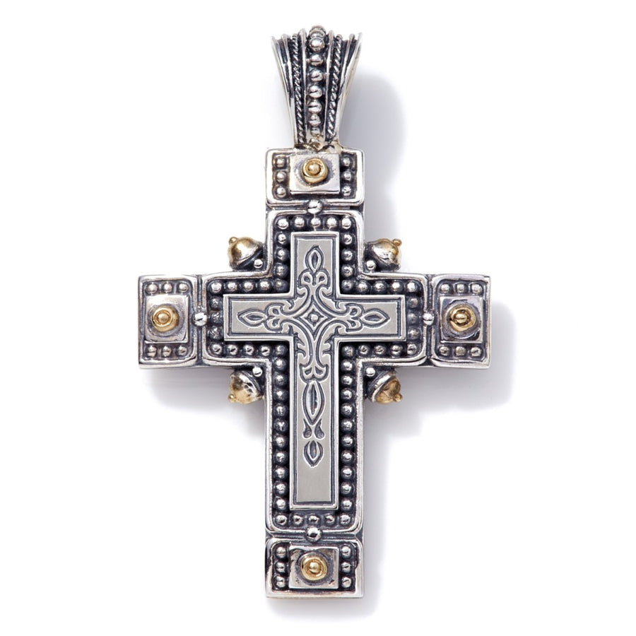 Konstantino Men's Sterling Silver Cross with Bronze Details