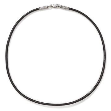 Konstantino Men's Sterling Silver 22 inch Leather Cord 4mm wide