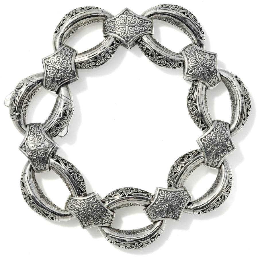 Konstantino Women's Sterling Silver Etched Oval Link Bracelet, 7 Inches