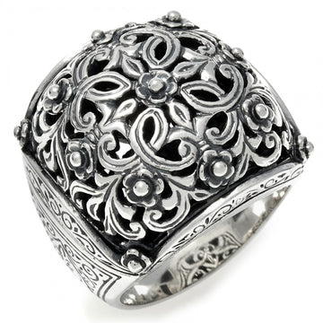 Konstantino Women's Classic Ornate Sterling Silver Square Cushion Ring
