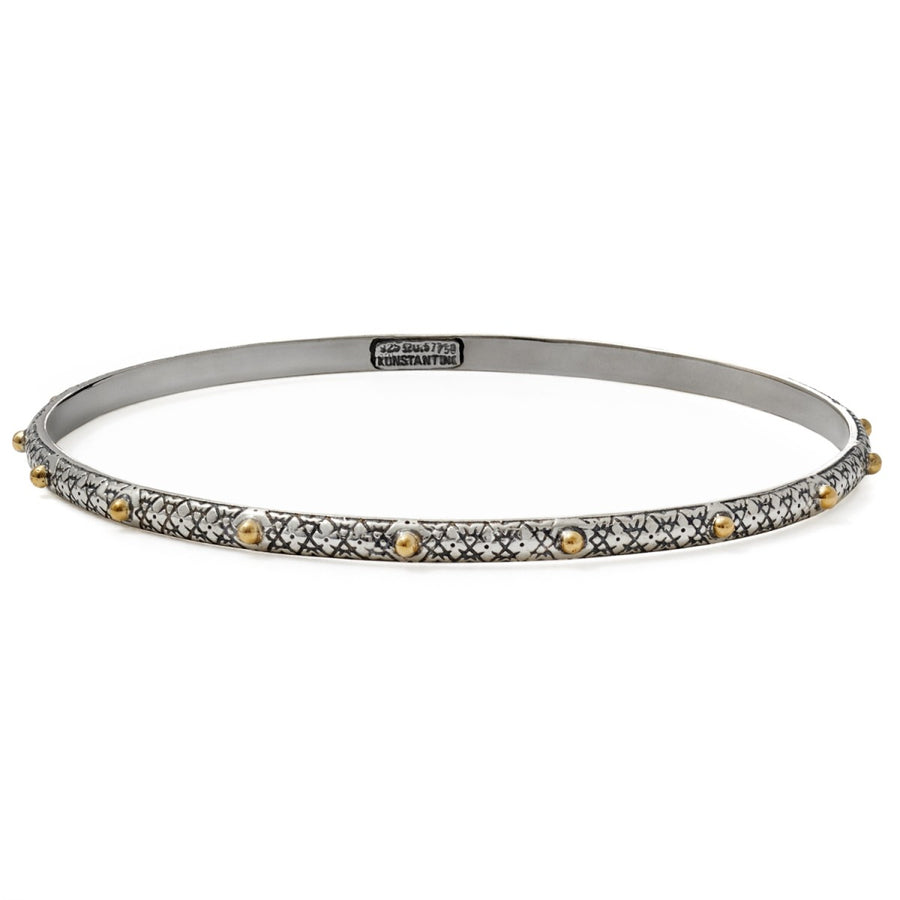 Konstantino Women's Sterling Silver and 18K Gold Thin Dotted Bangle, 7.5 Inches