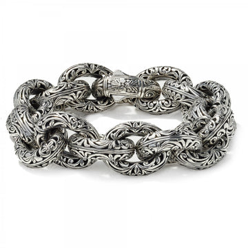 Konstantino Women's Sterling Silver Etched Link Bracelet, 7 Inches