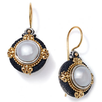 Konstantino Women's Sterling Silver, Pearl & 18K Gold Drop Earring