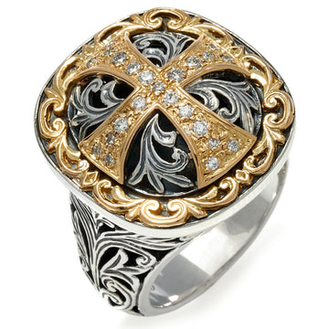 Konstantino Women's Daphne Sterling Silver & 18K Gold Diamond Cross Ring