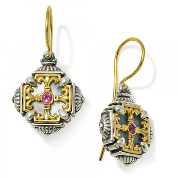 Konstantino Women's Sterling Silver & 18k Gold Mother of Pearl, Pink Tourmaline Earrings - Upscaleman