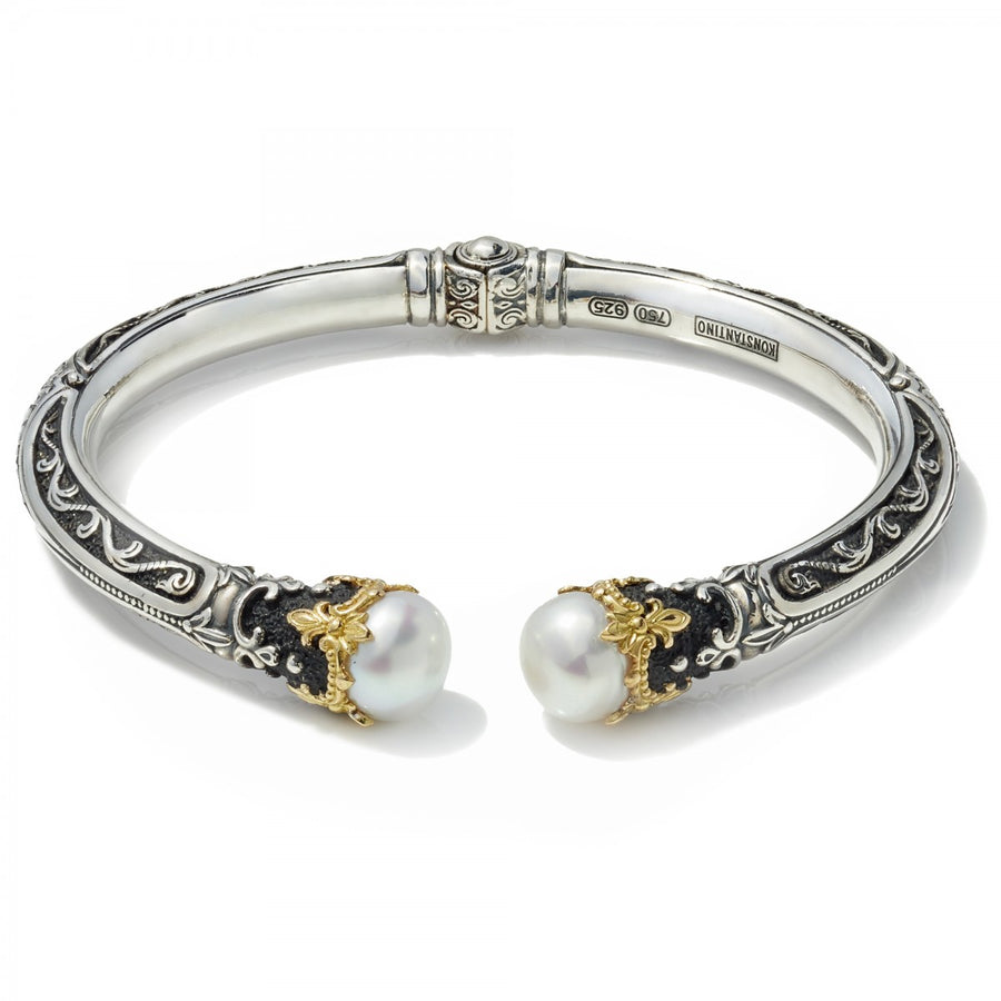 Konstantino Women's Sterling Silver, 18k Gold Pearl Tipped Hinge Bracelet. 6 3/4 Inches