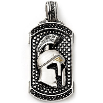 Konstantino Men's Sterling Silver & 18K Gold Pendant, Grecian Helmate Face , 2