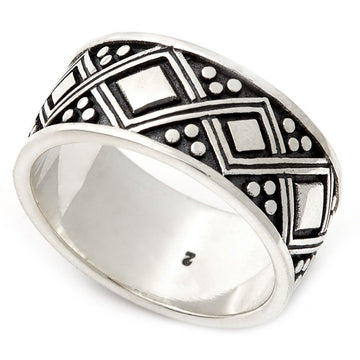 Konstantino Men's Sterling Silver Ring With Engraved Diamond Patterns