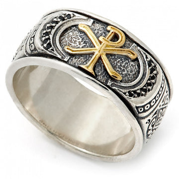 Konstantino Men's Savros Collection Sterling Silver and 18K Gold Spinel Ring