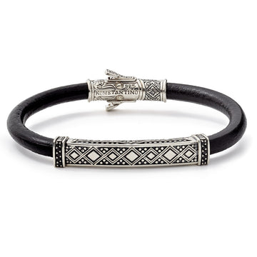 Konstantino Men's Black Leather Bracelet With Sterling Silver and Black Spinel Stone Accents, 8 Inch