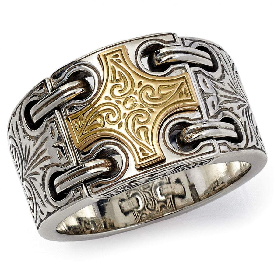 Konstantino Men's Sterling Silver Ring With 18K Gold Maltese Cross