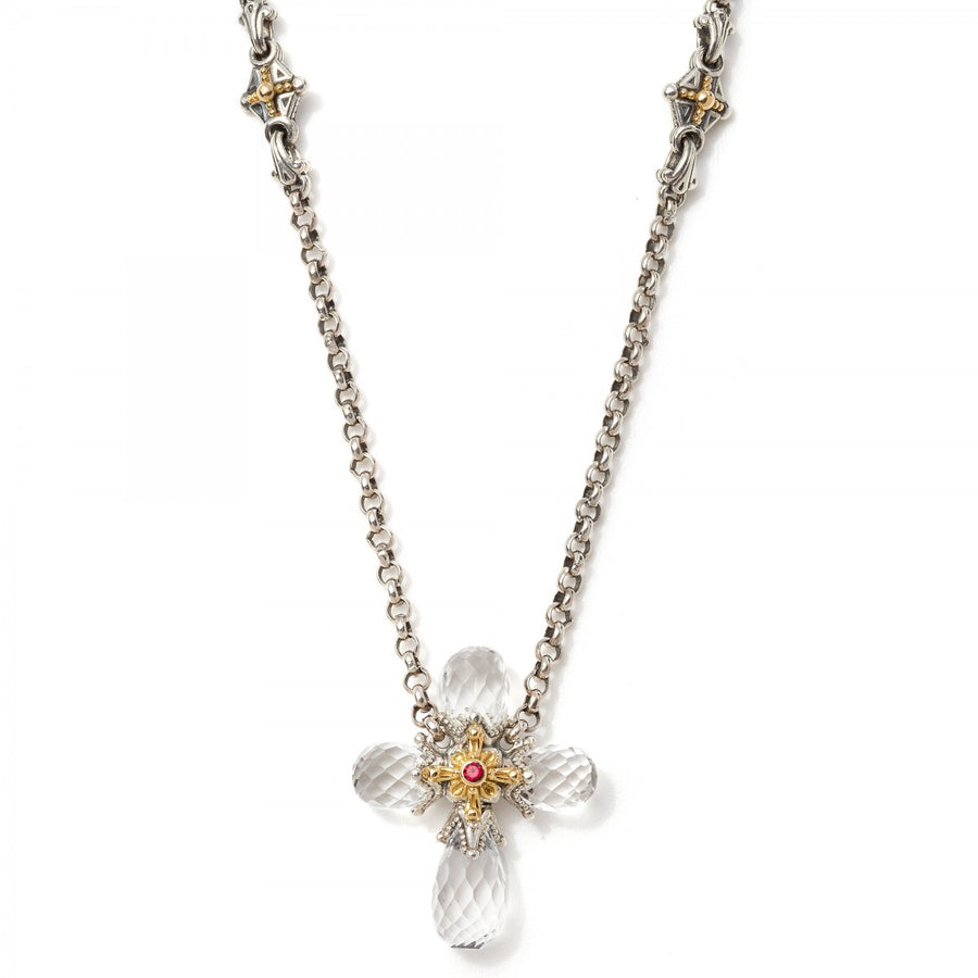 Konstantino Sterling Silver and 18k Gold Crystal Corundum Gems Cross Pendant Necklace, 18 Inch