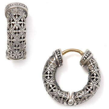 Konstantino Women's Sterling Silver Hoop Earrings With Cross and Diamond Designs