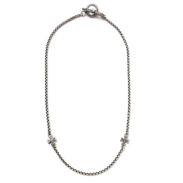 Konstantino Women's Sterling Silver Necklace With Cross Etched Spacers, 18 Inch
