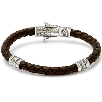 Konstantino Men's Sterling Silver Leather Bracelet, Brown, 8.5 Inch