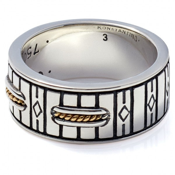 Konstantino Men's Sterling Silver & 18K Gold Band Ring